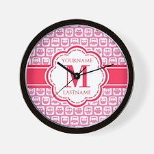 Custom Monogram, Cute Girly Pink Owl Wall Clock
