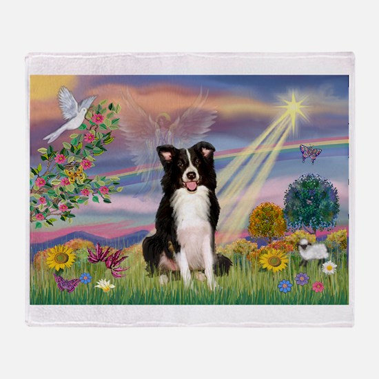 Cloud Angel /Border Collie Throw Blanket
