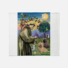 St Francis / Cairn Terrier Throw Blanket