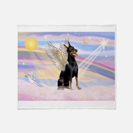 Dobie Angel in Clouds Throw Blanket