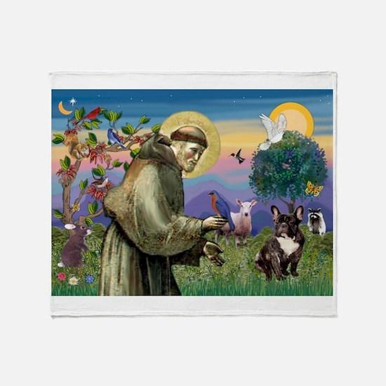 St Francis / Fr Bulldog (brin Throw Blanket
