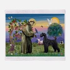 St Francis /G Schnauzer(blk) Throw Blanket