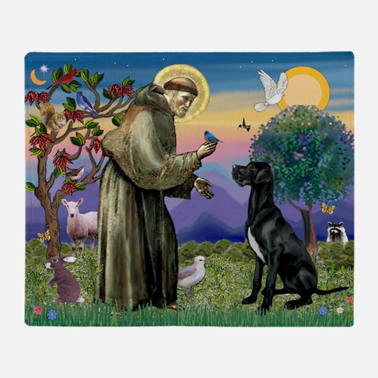 St Francis / Great Dane (blk) Throw Blanket
