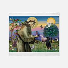 St. Francis & Min Pin Throw Blanket