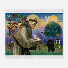 St Francis / Poodle(blk min) Throw Blanket