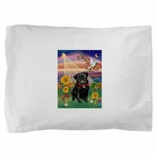 Autumn Angel / Pug (blk) Pillow Sham