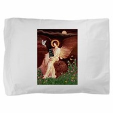 Seated Angel / Pug (blk) Pillow Sham