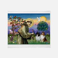 St Francis / Sheltie pair Throw Blanket