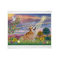 Cloud Angel Welsh Corgi Throw Blanket