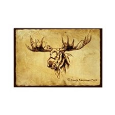 Moose Sepia Ink Drawing Rectangle Magnet