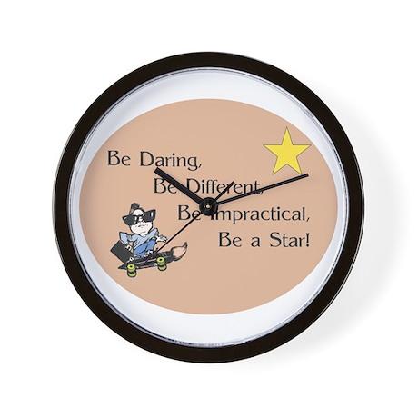 Be Daring on Brown Circle Wall Clock
