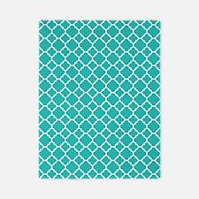 Turquoise quatrefoil pattern Twin Duvet