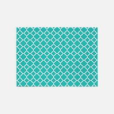 Turquoise quatrefoil pattern 5'x7'Area Rug