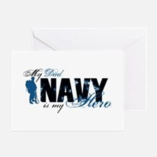 Dad Hero3 - Navy Greeting Cards