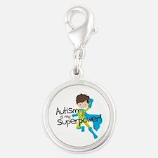 Autism Superpower Silver Round Charm