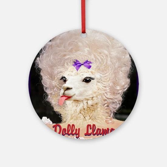 Dolly Llama Round Ornament