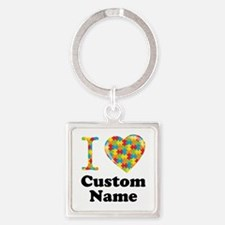 Autism Heart Square Keychain