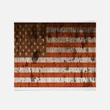 Vintage American flag 3 Throw Blanket
