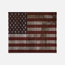 Vintage American flag 4 Throw Blanket