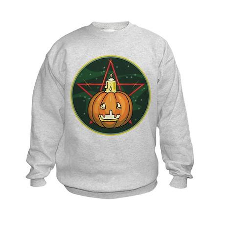 Pumpkin, Candle, Pentagram Kids Sweatshirt