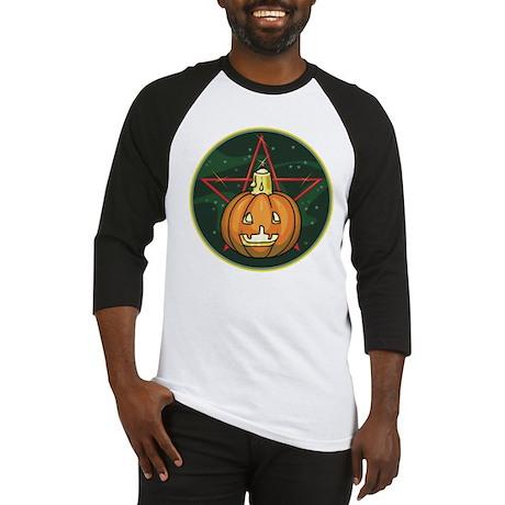 Pumpkin, Candle, Pentagram Baseball Jersey