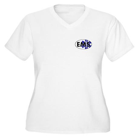 EMS Oval w/SOL Women's Plus Size V-Neck T-Shirt