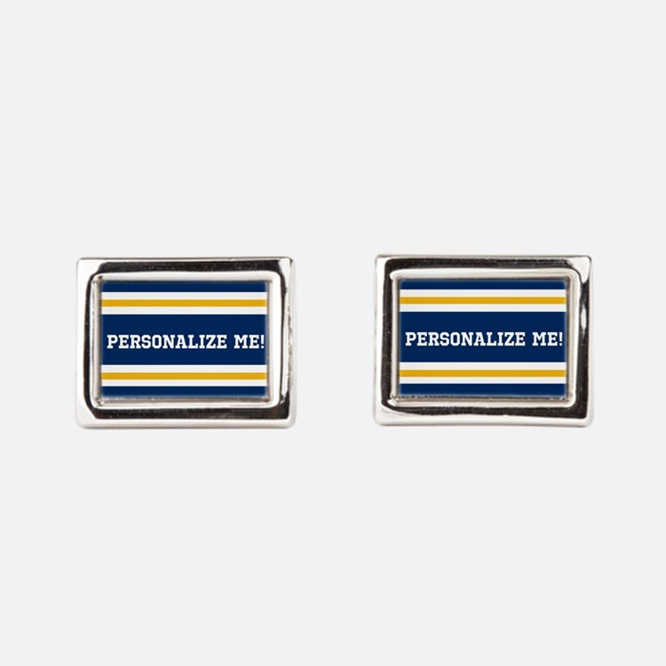 Blue and Gold Team Colors to Rectangular Cufflinks