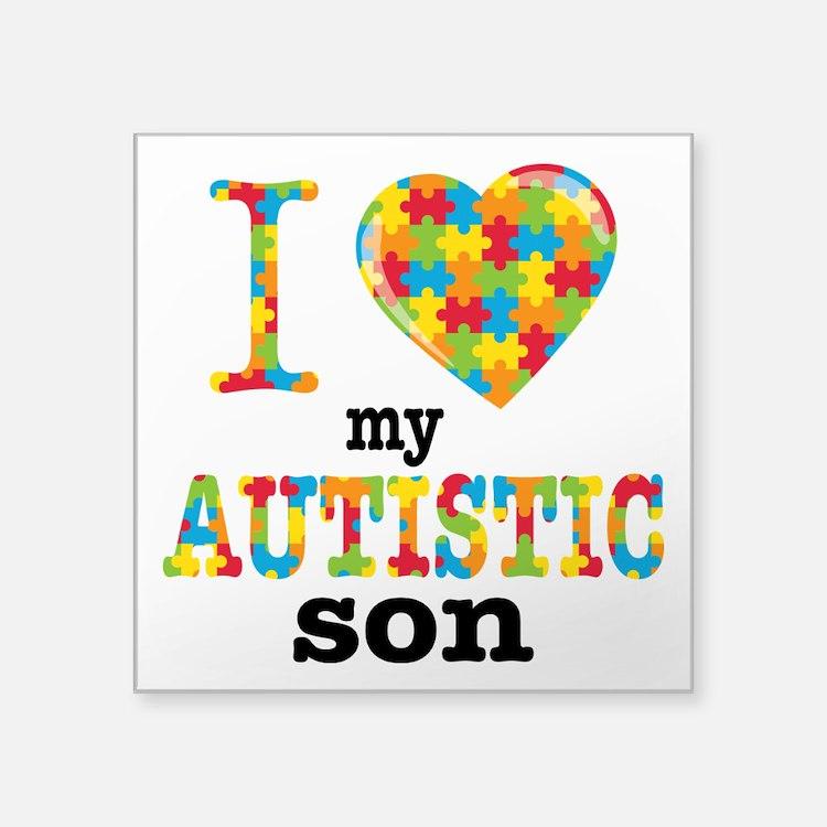 """Autistic Son Square Sticker 3"""" x 3"""""""