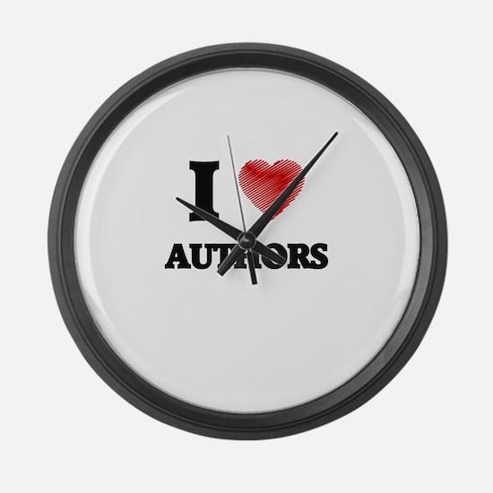 I love Authors Large Wall Clock