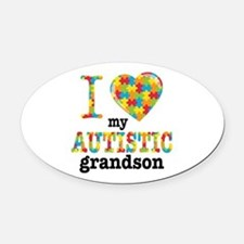 Autistic Grandson Oval Car Magnet