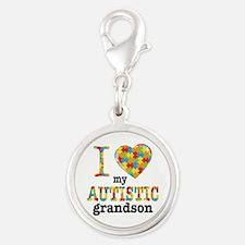 Autistic Grandson Silver Round Charm