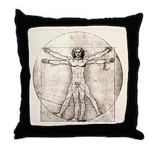 "Da Vinci ""Vitruvian Man"" Throw Pillow (black)"