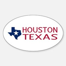 Texas: Houston (State Shape & Star) Sticker (Oval)