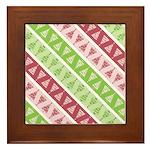 Striped Funky Christmas Framed Tile
