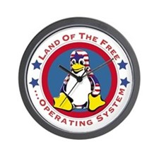 Tux - Land of the Free Wall Clock