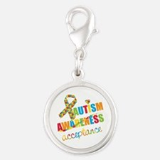 Autism Acceptance Silver Round Charm