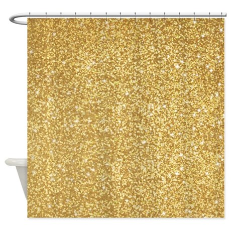 Gold Glitter Shower Curtain By Admin Cp62726417