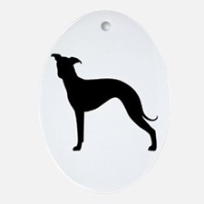 Greyhound Two 1C Oval Ornament