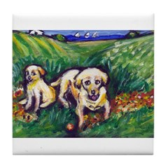 Yellow Lab w pup Tile Coaster