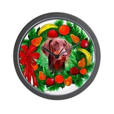 Doberman Christmas Wall Clock