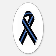 Police Vets Ribbon Rectangle Decal