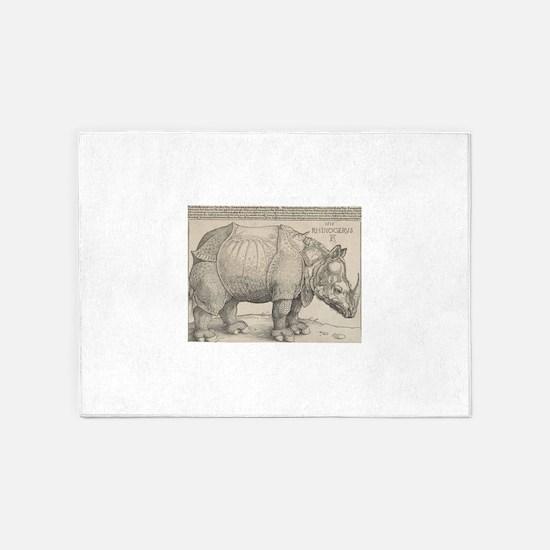 Ancient Rhino 5'x7'Area Rug