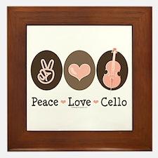 Peace Love Cello Framed Tile