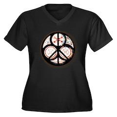 Jewish Peace Window Women's Plus Size V-Neck Dark