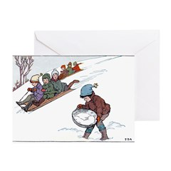 1930's Snow Fun #2 Greeting Cards (Pk of 20)