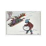 1930's Snow Fun #2 Rectangle Magnet (100 pack)