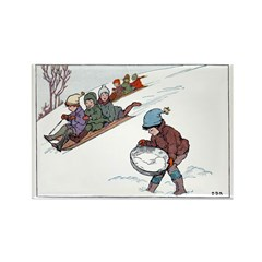 1930's Snow Fun #2 Rectangle Magnet (10 pack)