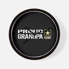 U.S. Army: Proud Grandpa (Black) Wall Clock