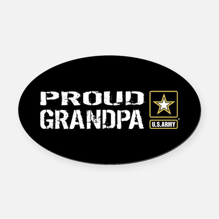 U.S. Army: Proud Grandpa (Black) Oval Car Magnet
