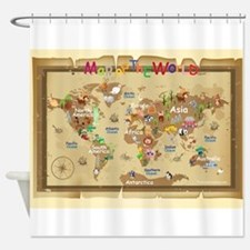 World Map For Kids - Earthy Tones Shower Curtain